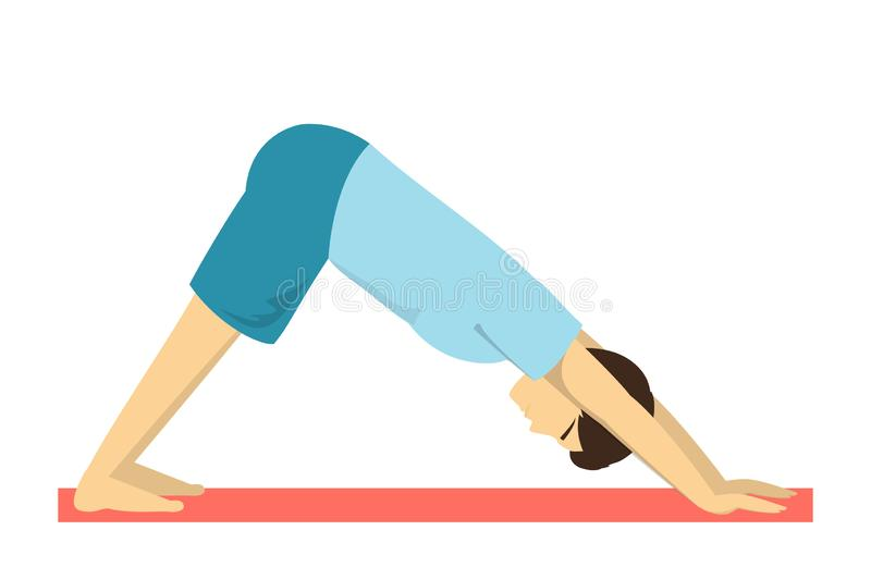 Downward facing dog yoga pose. Fitness exercise. For body training and balance. Male fitness. Isolated vector illustration in cartoon style stock illustration