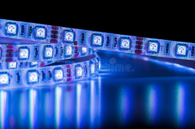 Dowodzeni pasków światła, błękitny kolor zdjęcia royalty free