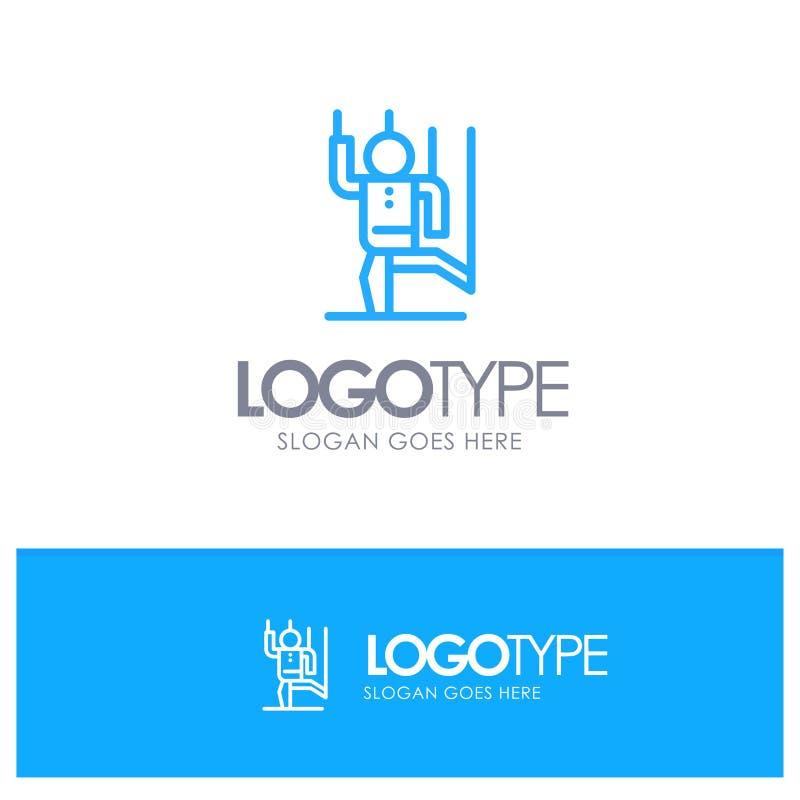 Dowodzi, Kontroluje, Manipuluje, istota ludzka, manipulacja konturu Błękitny logo z miejscem dla tagline royalty ilustracja