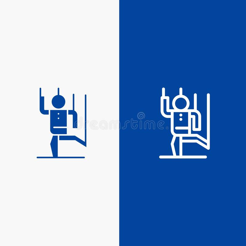 Dowodzi, Kontroluje, Manipuluje, istota ludzka, manipulacji linii i glifu Stałej ikony sztandaru glifu Błękitnej ikony błękita St ilustracji