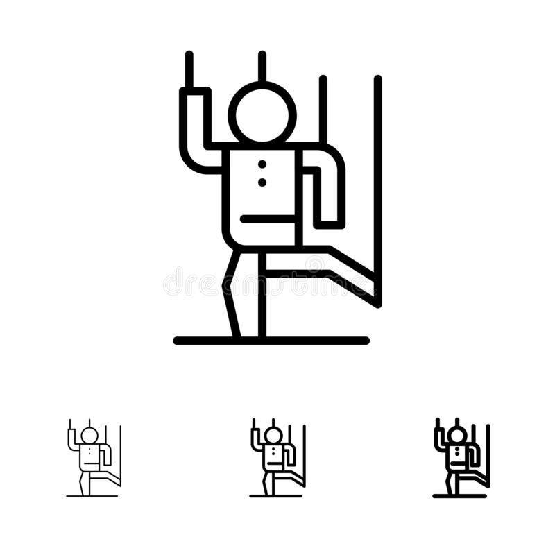 Dowodzi, Kontroluje, Manipuluje, manipulacji czerni linii ikony set, istota ludzka, Śmiały i cienki royalty ilustracja