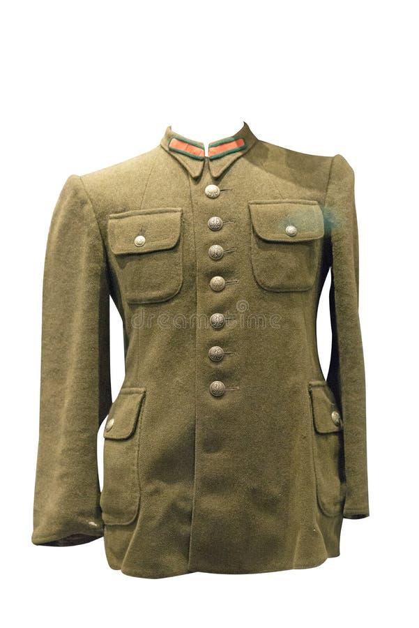 Dowodzi mundur odizolowywającego na białym tle sowiecki wojsko kurtka oficer Drugi wojna światowa zdjęcie stock