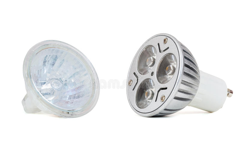 Dowodzona żarówki i fluorowa lampa zdjęcie stock