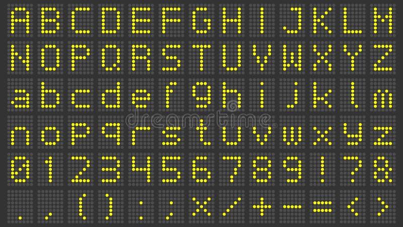 Dowodzona pokaz chrzcielnica Cyfrowego tablica wyników abecadło, elektroniczne znak liczby i lotniskowy elektryczny ekran, piszem ilustracja wektor