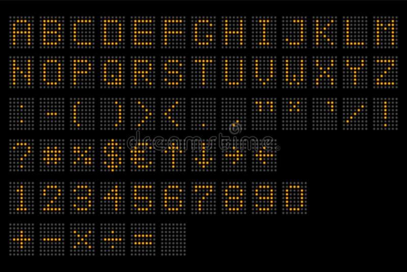 Dowodzony cyfrowy abecadło Elektroniczny liczby, abecadła cyfrowy pokaz i, Cyfrowego śmiertelnie stół prowadził chrzcielnicy, z g ilustracja wektor