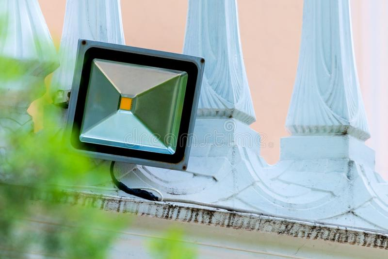 DOWODZONY powodzi światło, światło reflektorów na ścianie zdjęcie royalty free