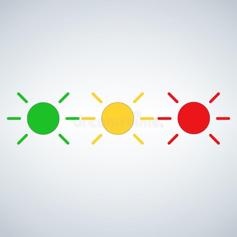 Dowodzony rozblaskowy status jasnozielony, żółty, czerwień Wektorowa ilustracja odizolowywająca na nowożytnym tle royalty ilustracja