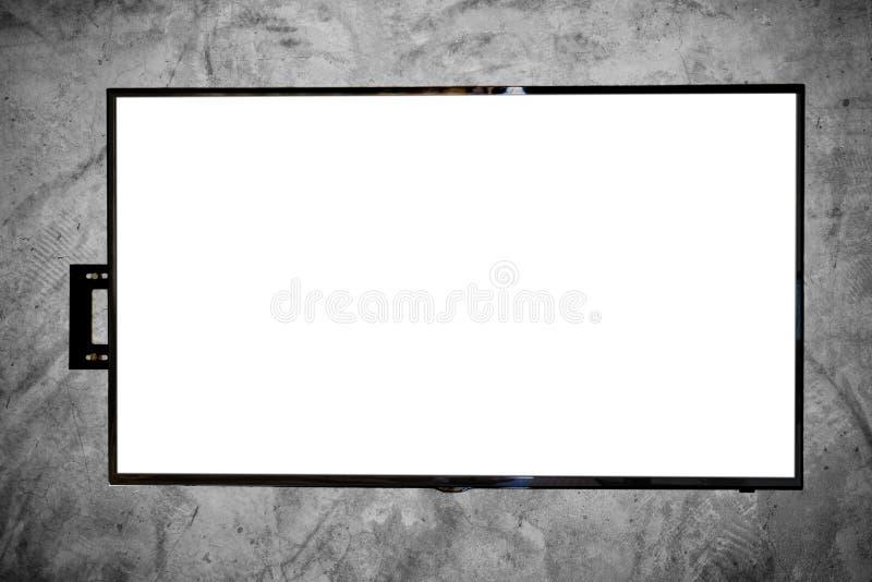 DOWODZONY TV na betonowej ścianie, z kopii przestrzenią na ekranie fotografia stock