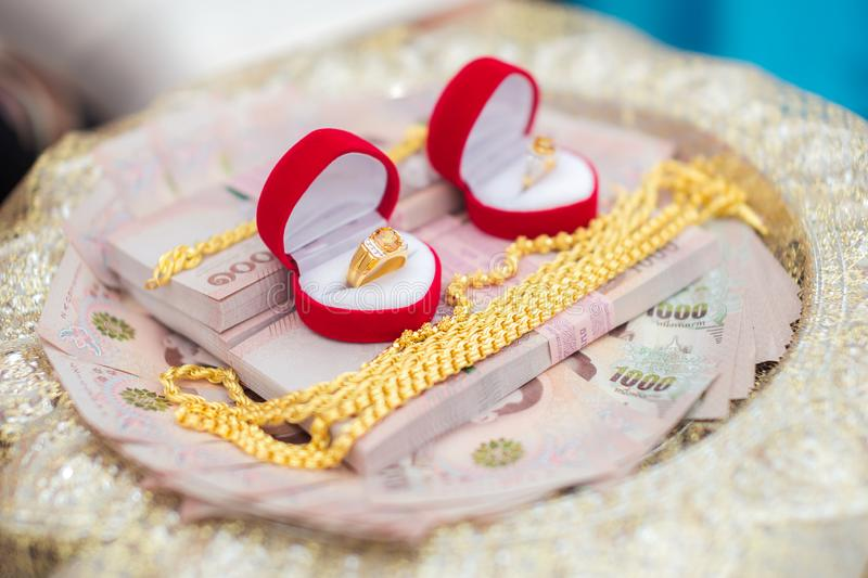 Dowry, ring, money, gold  for procession wedding ceremony of Thailand. Dowry, ring, money, gold  for wedding couple and procession wedding ceremony of Thailand royalty free stock image