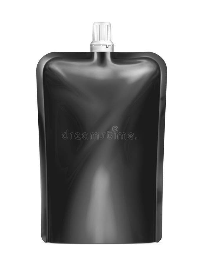 Doy-bloco, alimento da folha de Doypack ou saco vazio preto da bebida empacotando com tampa do bico ilustração do vetor