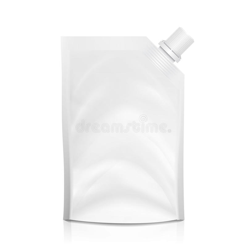 Doy-pack Blank Vector. White Clean Doypack Bag Packaging With Corner Spout Lid. Plastic Spouted Pouch Template stock illustration