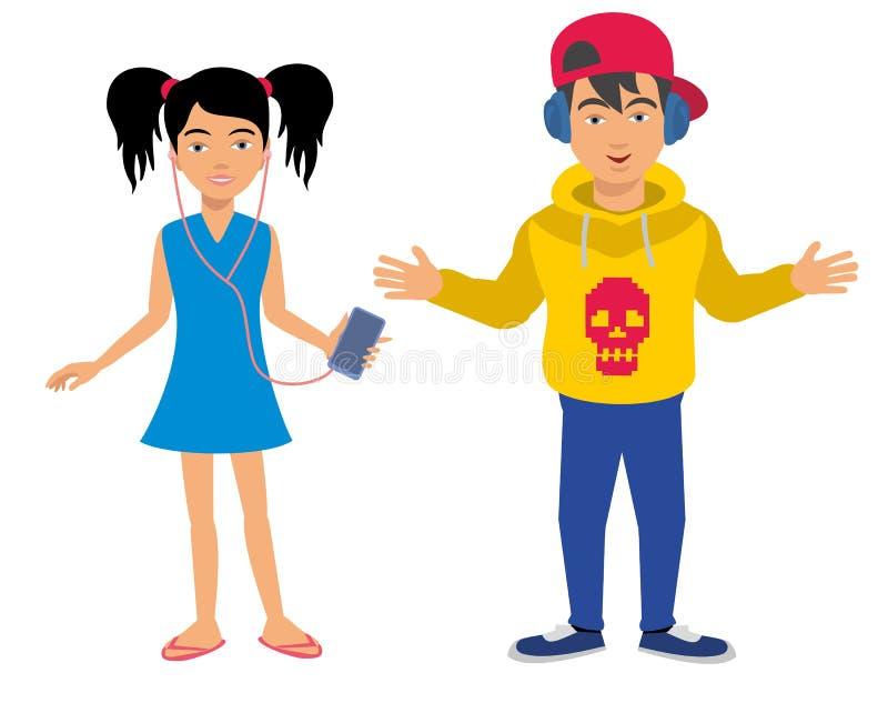 Doy y muchacha ilustración del vector