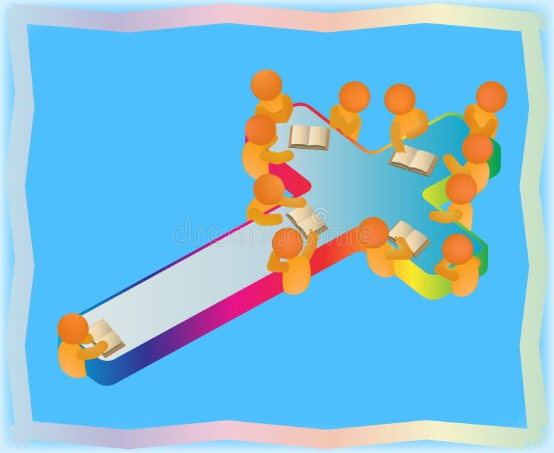 Doze grupos de estudo da Bíblia da cristandade dos apóstolos ilustração do vetor