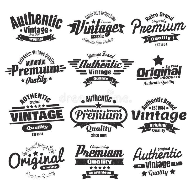 Doze insígnias ou etiquetas do vintage ilustração royalty free