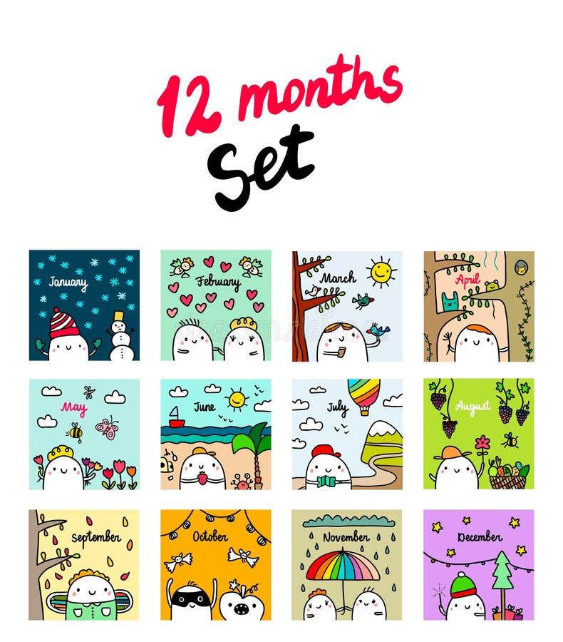 Doze meses ajustaram ilustrações tiradas mão com marshmallow bonito ilustração do vetor