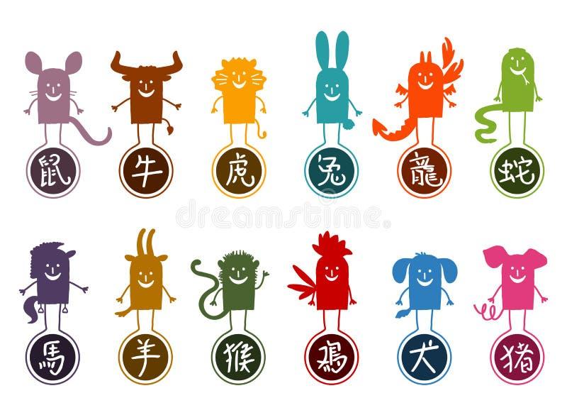 Doze sinais chineses dos desenhos animados da silhueta do zodíaco ilustração do vetor