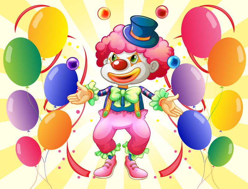 A Dozen Of Colorful Balloons With A Clown Stock Photography