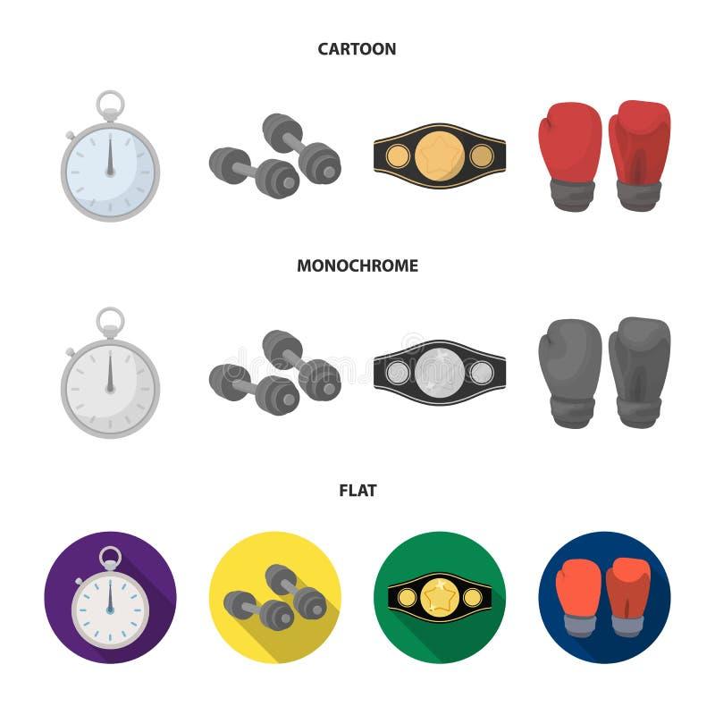 In dozen doen, sport die, chronometer, horloge vastgestelde inzamelingspictogrammen in beeldverhaal, de vlakke, zwart-wit voorraa vector illustratie