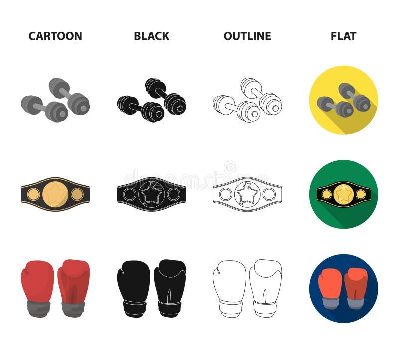In dozen doen, sport die, chronometer, horloge vastgestelde inzamelingspictogrammen in beeldverhaal, zwarte, overzicht, de vlakke royalty-vrije illustratie