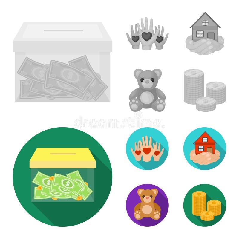In dozen doend glas met schenkingen, handen met harten, huis in handen, teddybeer voor liefdadigheid Liefdadigheid en schenkingsr vector illustratie