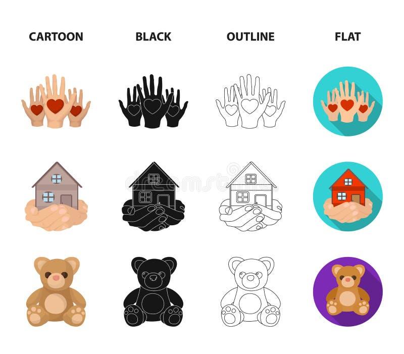 In dozen doend glas met schenkingen, handen met harten, huis in handen, teddybeer voor liefdadigheid Liefdadigheid en schenkingsr royalty-vrije illustratie