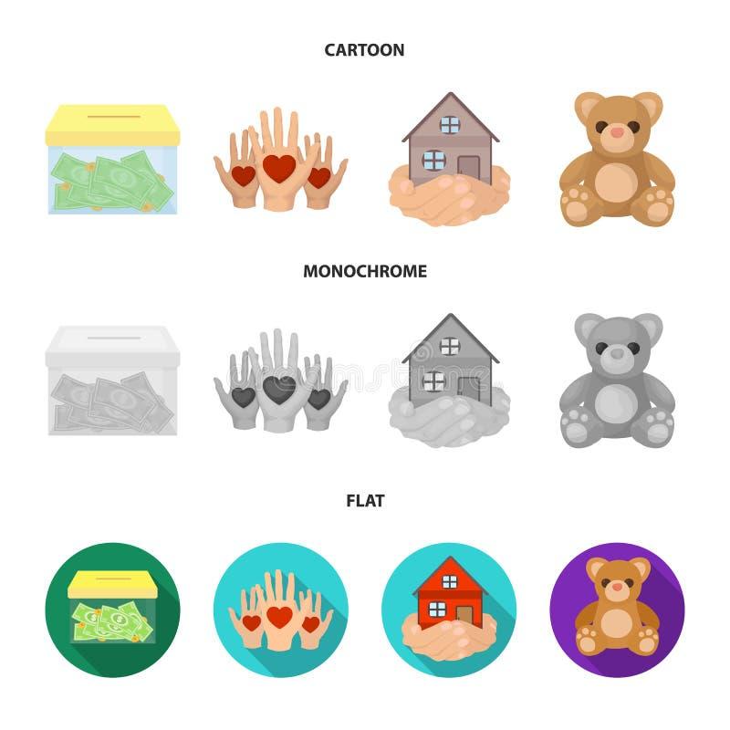 In dozen doend glas met schenkingen, handen met harten, huis in handen, teddybeer voor liefdadigheid Liefdadigheid en schenkingsr stock illustratie