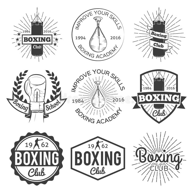 In dozen doende club en van het vechtsportenembleem het etiketreeks van de kentekensport stock illustratie