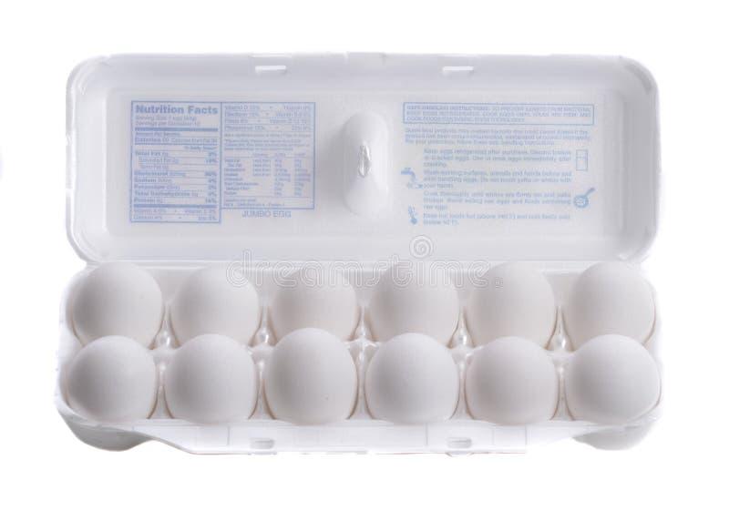 Dozen of Eggs. Carton of a dozen of eggs - isolated on white background royalty free stock image