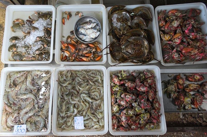 Dozen met ruwe zeevruchten: krabben, garnalen, zeekreeften royalty-vrije stock foto