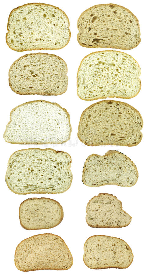 Free Dozen Slices Of Bread Isolated On White Stock Images - 14338324