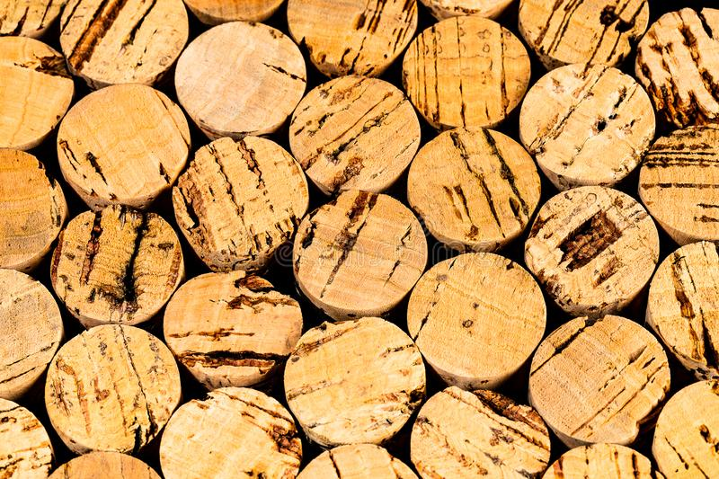 Dozens of Wine Corks bundled from the end point of view stock photo