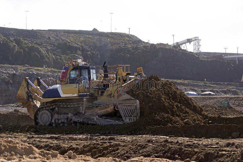 Dozer at work. Largest model of dozer in the world works at an open cast coal mine, Westland, New Zealand stock photo