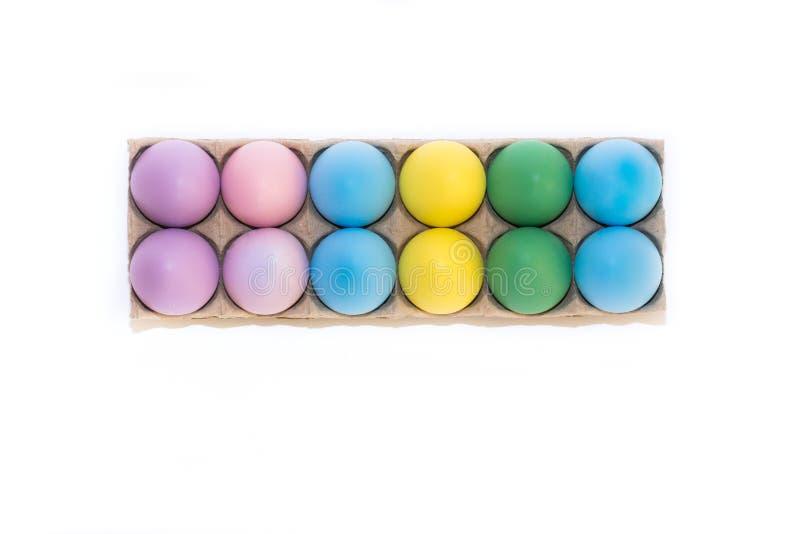 Dozijn gekleurde Paaseieren stock fotografie