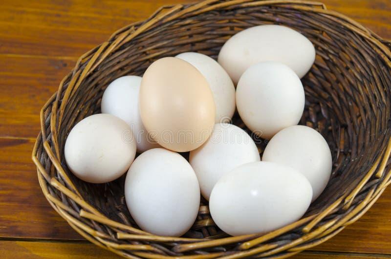 Dozijn witte eieren in een houten mand stock fotografie