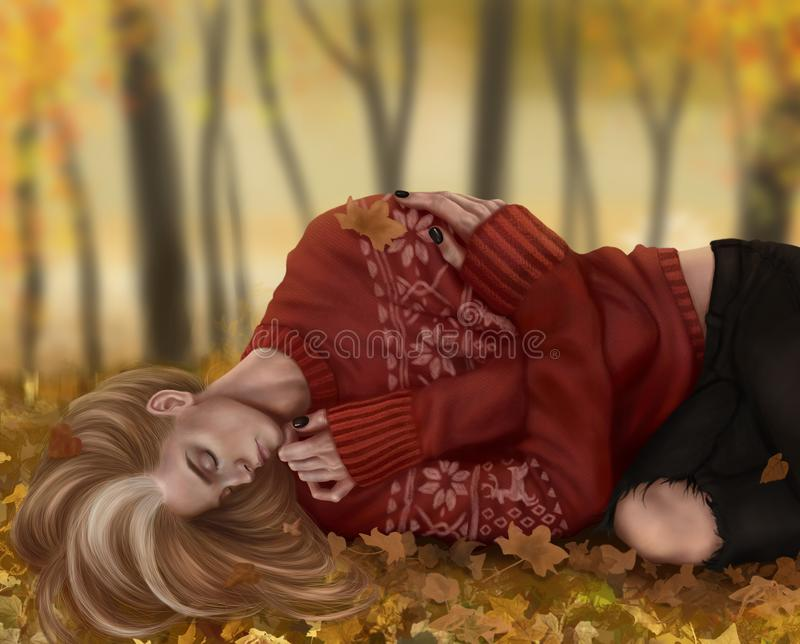 Dozing guy on an autumn day royalty free illustration