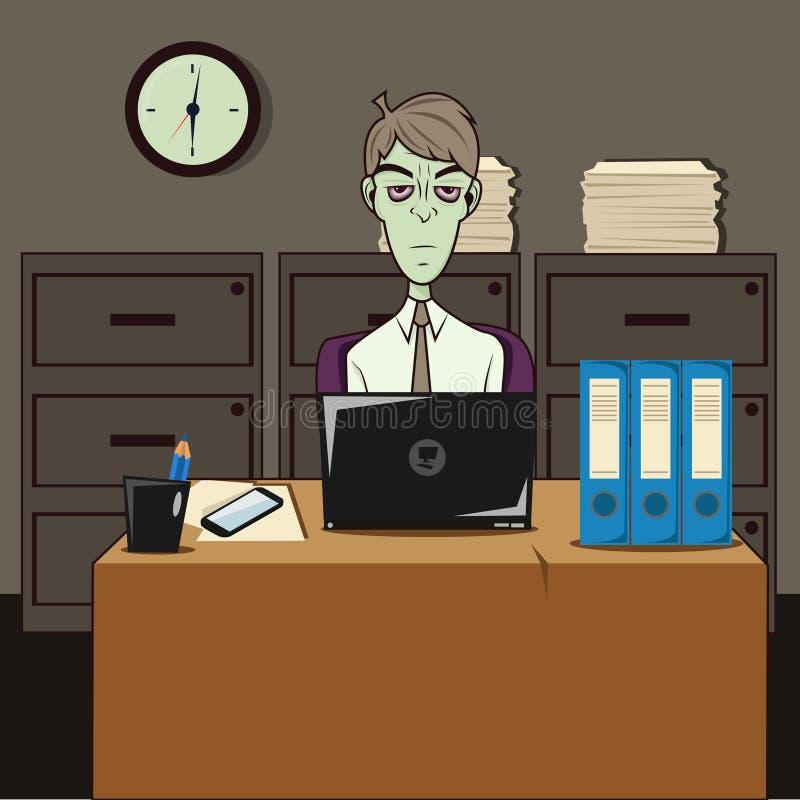 Dozombox le bureau de zombi de capitalisme illustration de vecteur
