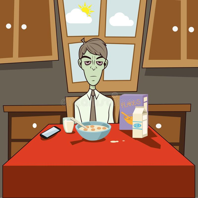 Dozombox le petit déjeuner de zombi de capitalisme illustration de vecteur