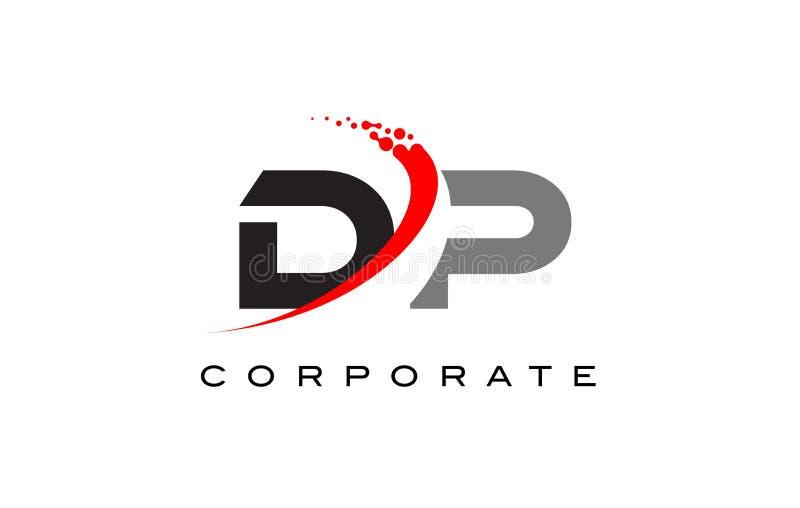 DP Modern Letter Logo Design with Swoosh stock illustration