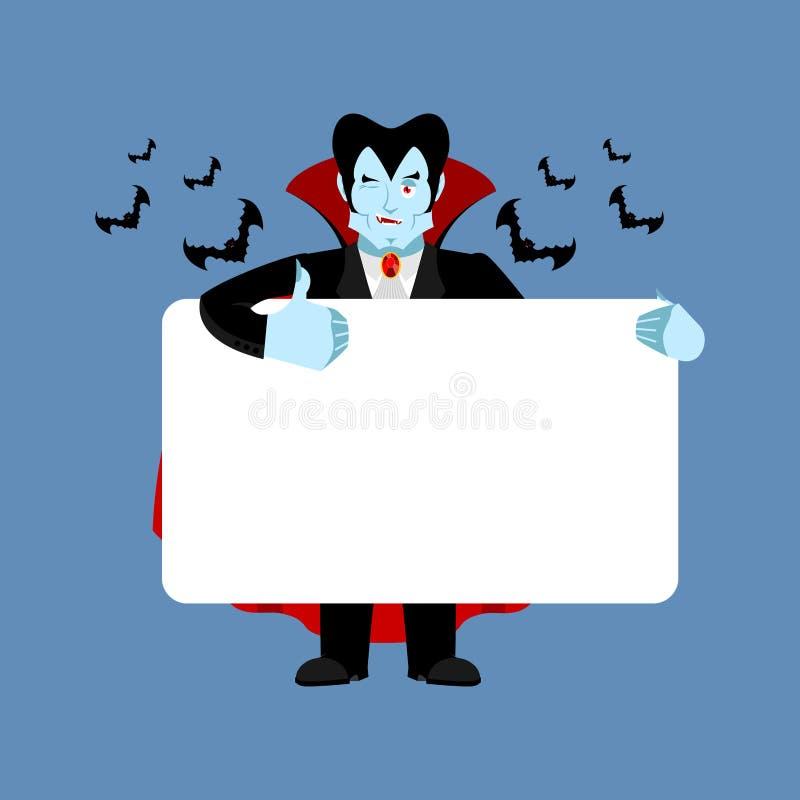 Drácula que lleva a cabo el espacio en blanco de la bandera vampiro y espacio en blanco blanco stock de ilustración