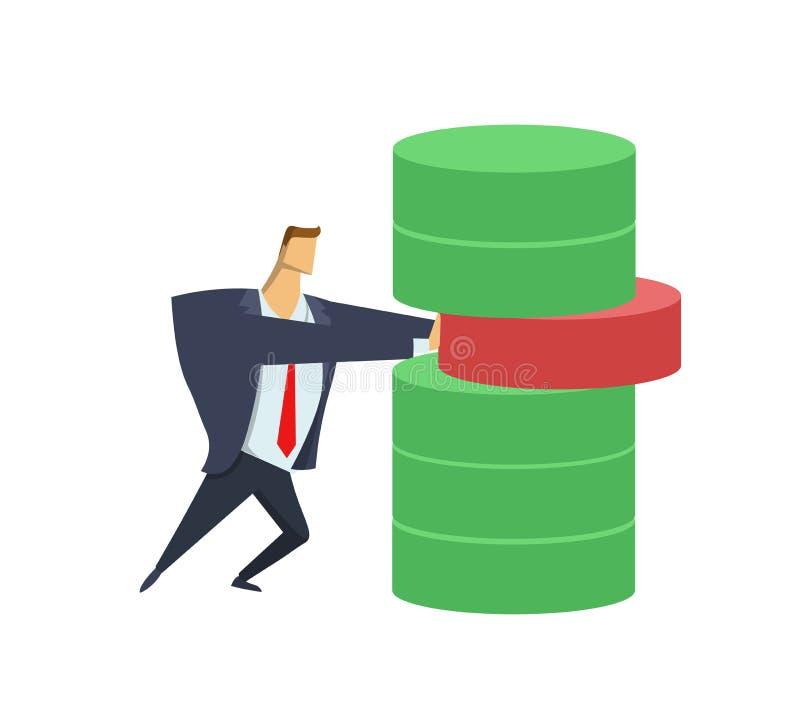 Dräkt för affärsman som i regeringsställning fel tar bort kvarteret från förrådet _ Anticrisis ledning Akuta mått stock illustrationer