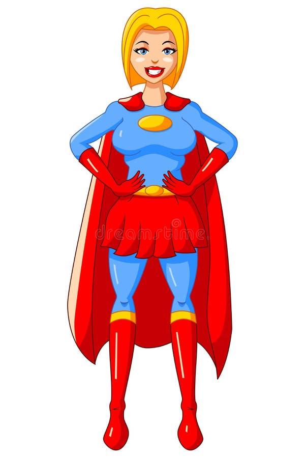 Dräkt för blått för tecken för kvinna för klistermärketecknad filmSuperhero röd vektor illustrationer