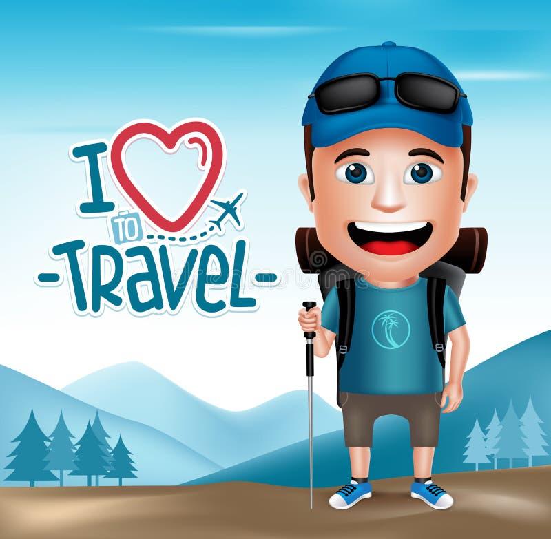 dräkt för fotvandrare för realistiskt turist- tecken för man 3D bärande stock illustrationer