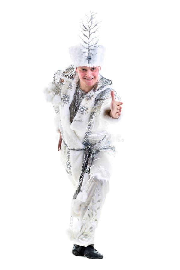 Dräkt för snöflinga för karneval för dansareman bärande arkivbild
