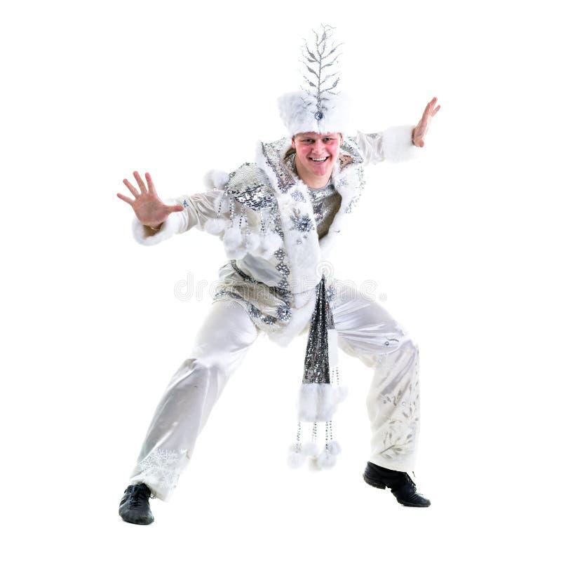 Dräkt för snöflinga för karneval för dansareman bärande arkivfoton