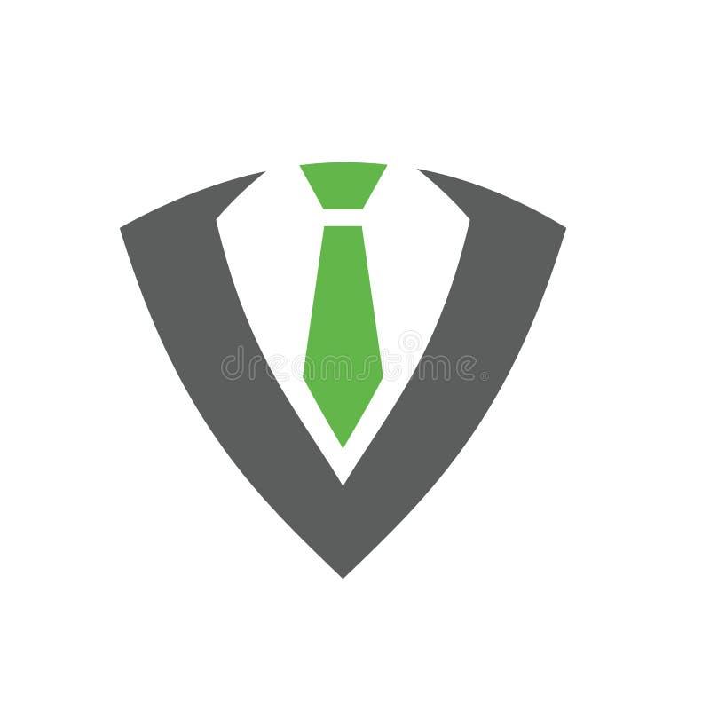 Dräkt och band, smoking Logo Design Template, vektorillustration royaltyfri illustrationer