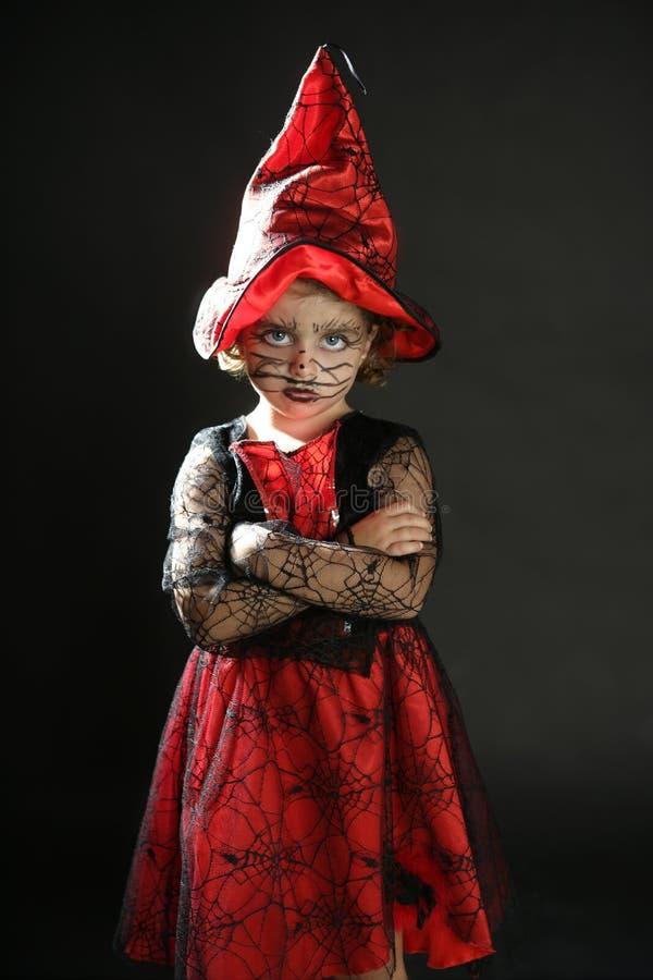 dräktflickahalloween litet barn arkivfoton