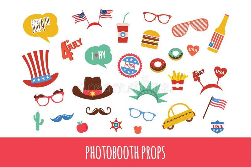 Dräktstöttor för självständighetsdagen av Amerika themed fotobåsparti royaltyfri illustrationer