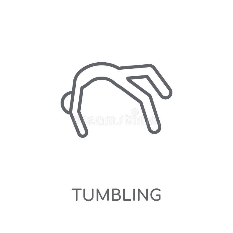 dråsa den linjära symbolen Modernt begrepp för översiktstumblinglogo på wh royaltyfri illustrationer