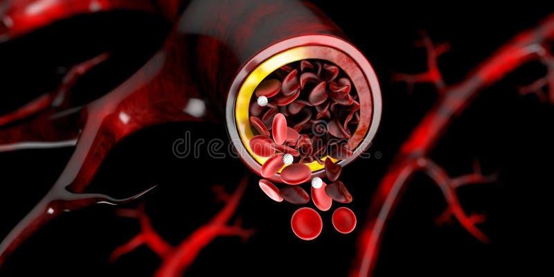 Drépanocytose, montrant le vaisseau sanguin avec le croissant normal et deformated, illustration 3D illustration stock