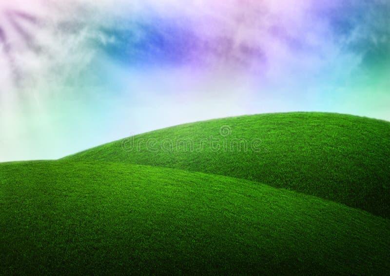 Dröm av gräs för regnbåge för fantasibakgrundshimmel arkivbild